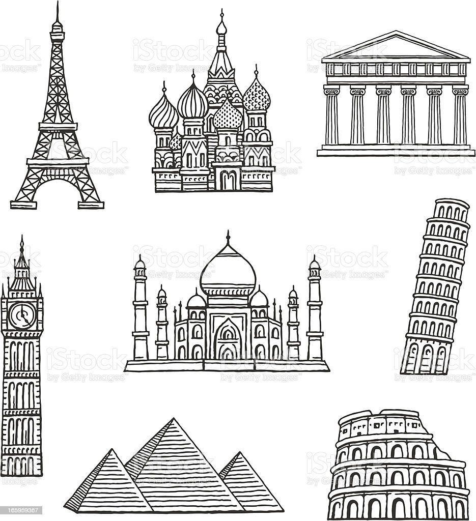 Famous Travel Destinations vector art illustration
