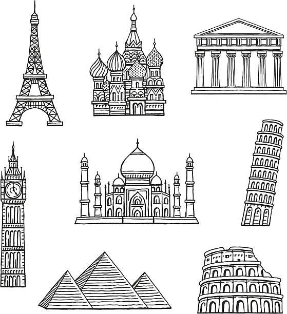 Famous Travel Destinations Set of hand drawn famous international landmarks. paris black and white stock illustrations