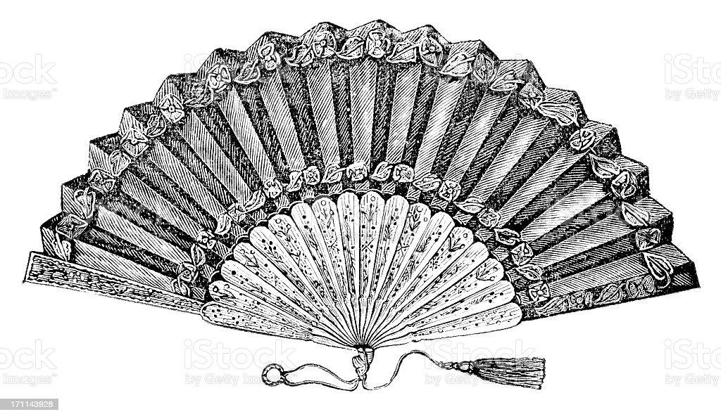fan engraving royalty-free stock vector art