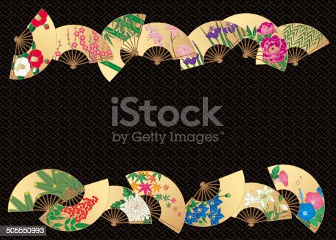 Fan of the design of the flower of the four seasons. Crafts of Japan.
