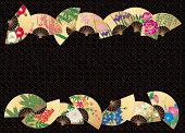 ファンのデザインの花のフォーシーズンズます。 日本の工芸品。