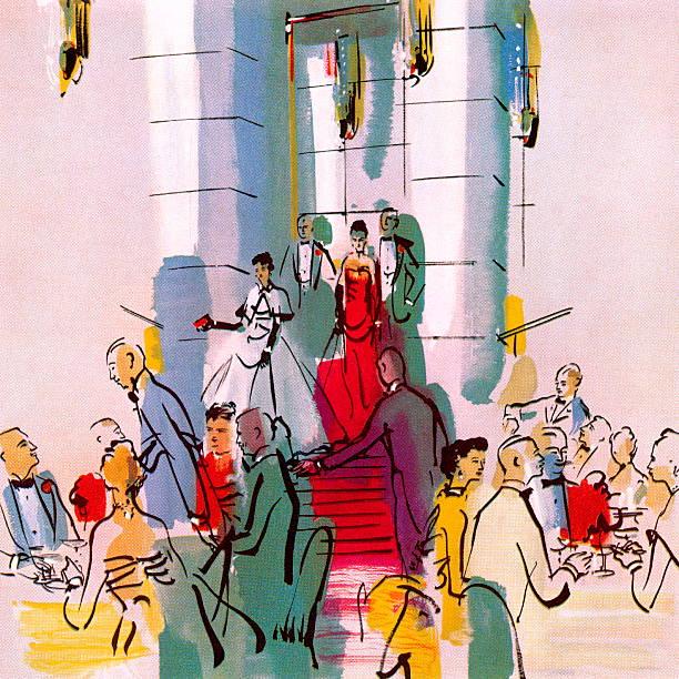 ilustrações, clipart, desenhos animados e ícones de festa de gala elegantes - eventos de gala