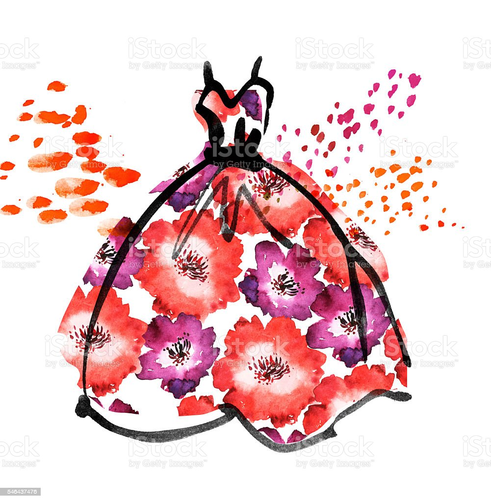 Ilustración de Fancy Dress With Floral Pattern Watercolor And Ink ...