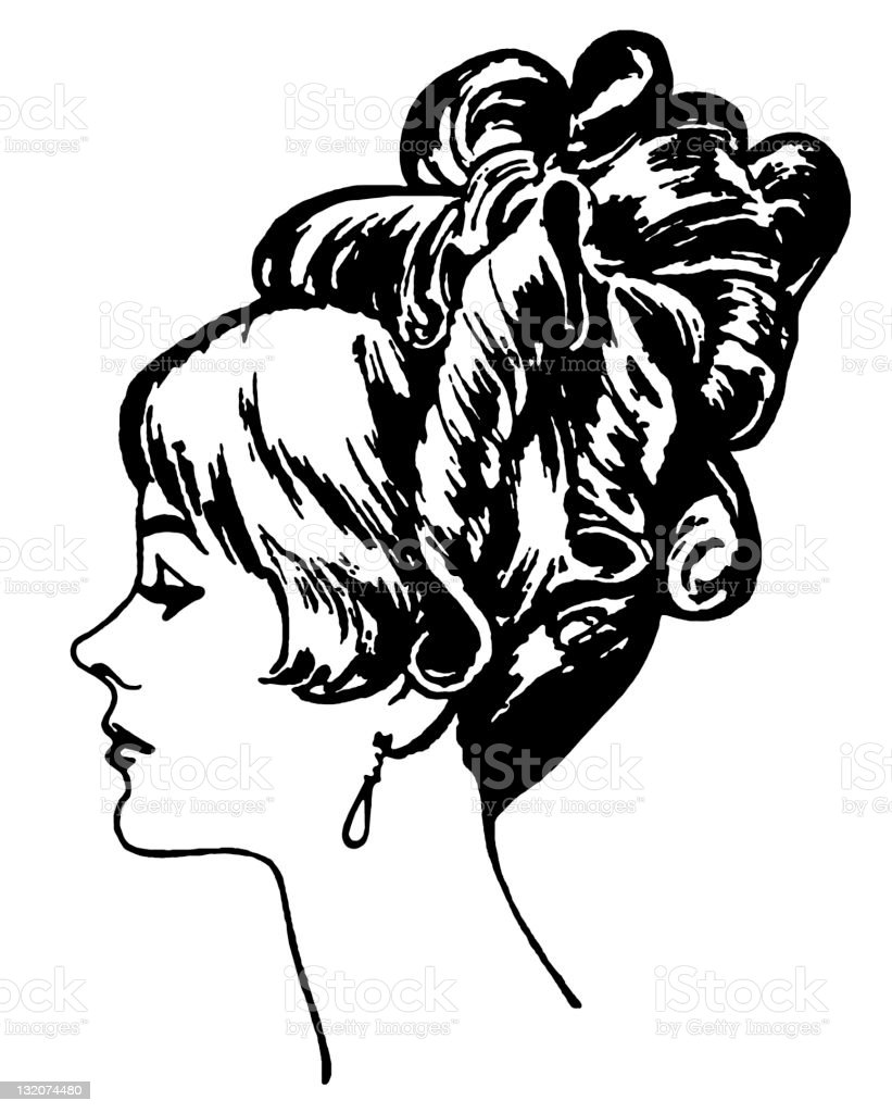Fancy Retro Hairstyle Stock Vector Art More Images Of Beautiful
