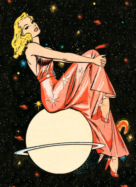 Fancy woman on a planet http://csaimages.com/images/istockprofile/csa_vector_dsp.jpg pin up girl stock illustrations
