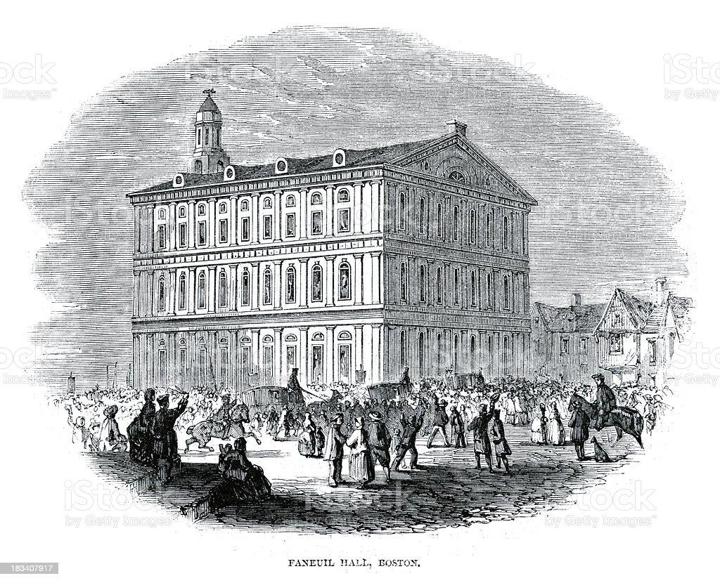 Faneuil Hall, Boston royalty-free stock vector art