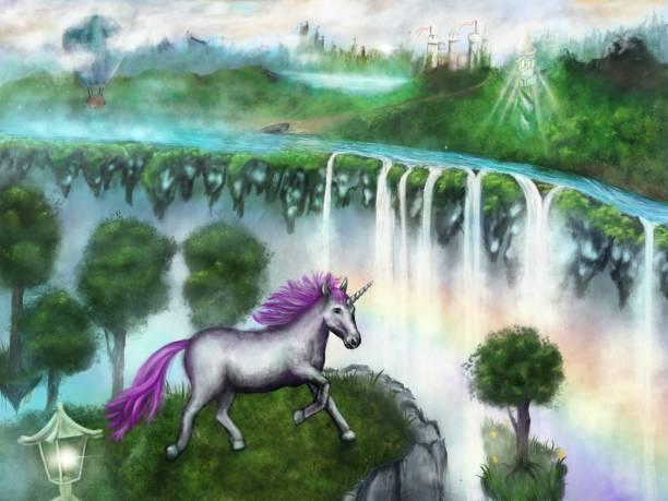 Fantastic and magical world where unicorns live, digital painting vector art illustration