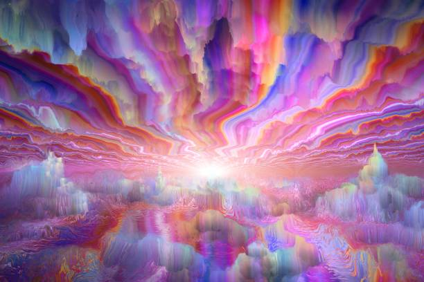 fantastic another world fantastic landscape of another world, digital painting psychedelic stock illustrations