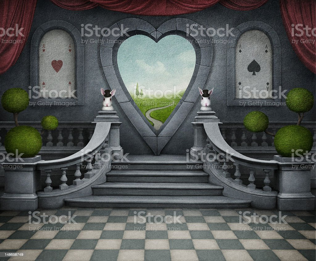 Fantastica sfondo e porta di cuore. - illustrazione arte vettoriale