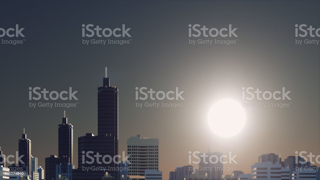 Fantastic big sun over abstract city skyline vector art illustration
