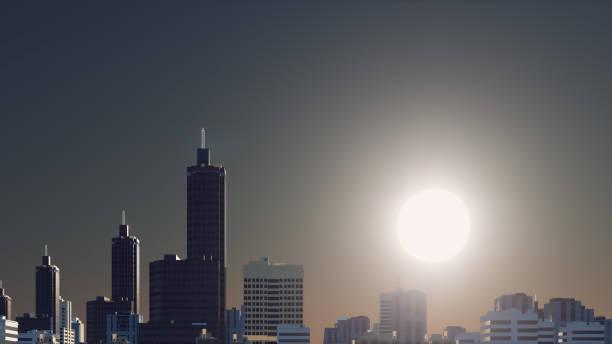 Fantastic big sun over abstract city skyline vector art illustration