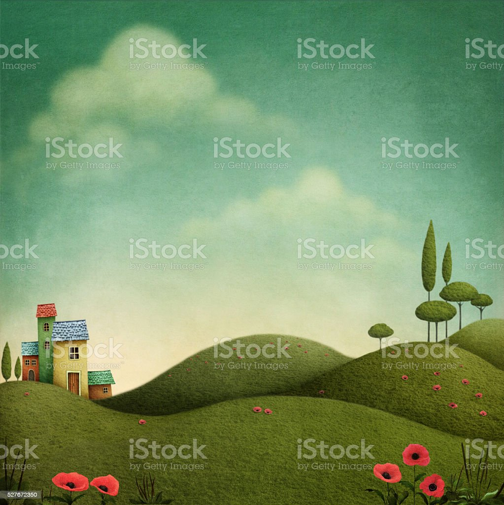 Fantastic landscape vector art illustration