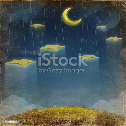 478539432 istock photo Fantastic moon and stars on the rope 479669664