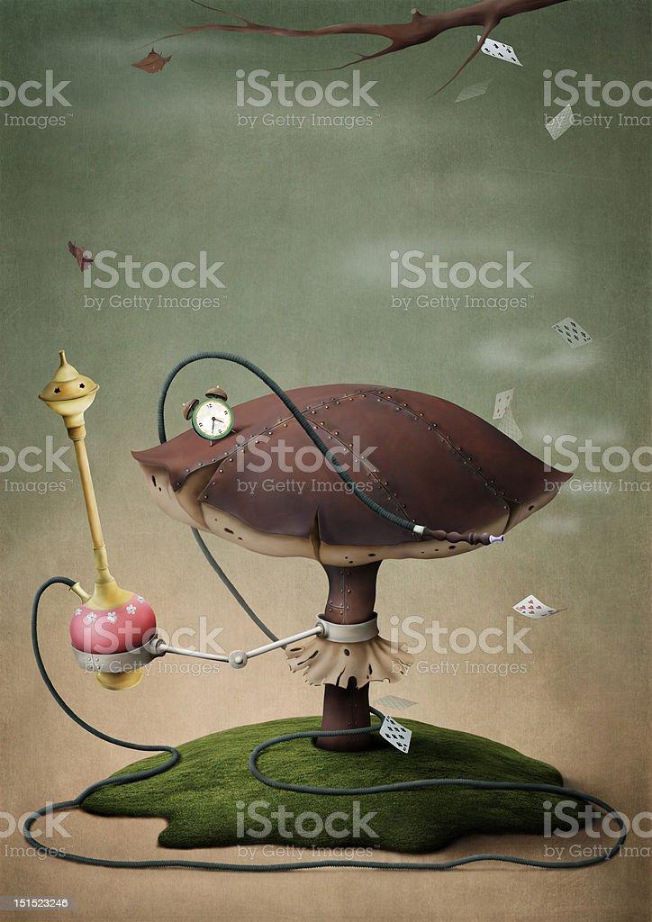 Fantastica fungo con Narghilé - illustrazione arte vettoriale