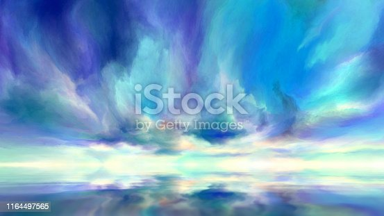 dramatic clouds reflected in water, digital painting