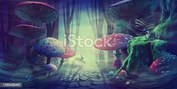 istock fantastic wonderland forest landscape with road, mushrooms, ferns. white rabbit runs in the fog among the trees. illustration 1253435451