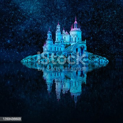 istock fantastic wonderland landscape. beautiful island with an ancient castle is reflected in the water against the night starry sky 1253435503