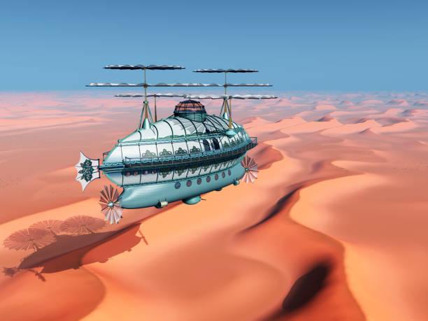 fantasy-luftschiff über einer wüstenlandschaft - aerial view soil germany stock-grafiken, -clipart, -cartoons und -symbole