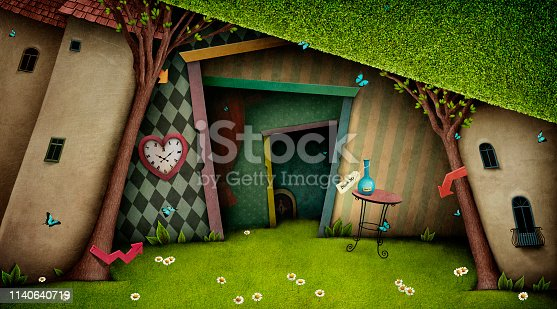 Conceptual fantasy bright background on the fairy tale Wonderland with  magic door and tree. Computer graphics.