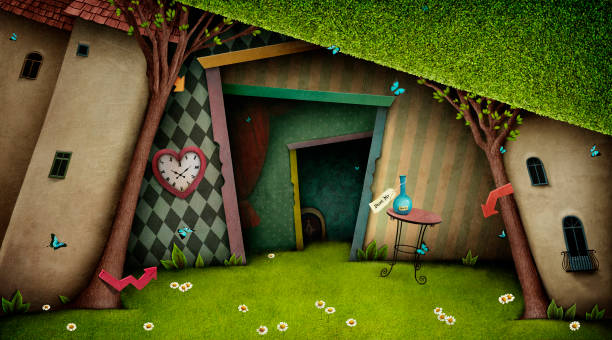 Fantasy Background Wonderland Conceptual fantasy bright background on the fairy tale Wonderland with  magic door and tree. Computer graphics. fairy tale stock illustrations