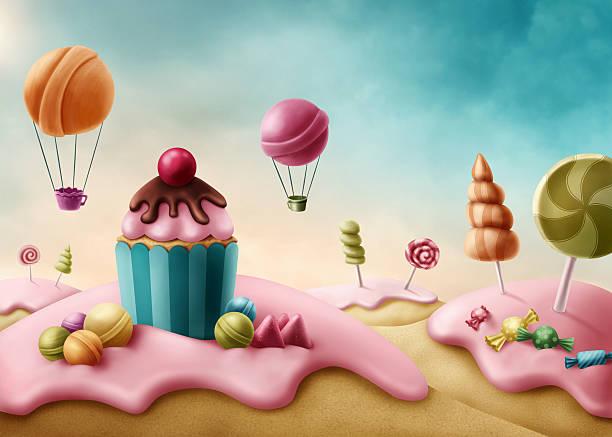 fantasy candyland - sweet food stock illustrations, clip art, cartoons, & icons