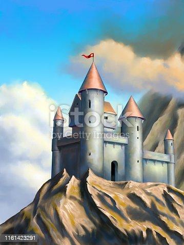 Medieval castle in an imaginary landscape. Original digital illustration.