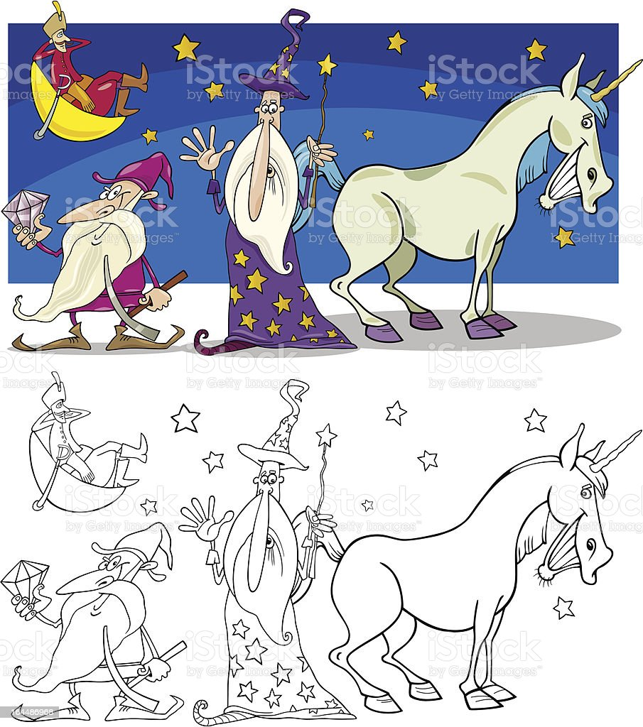 Fantasy Characters for coloring royalty-free stock vector art