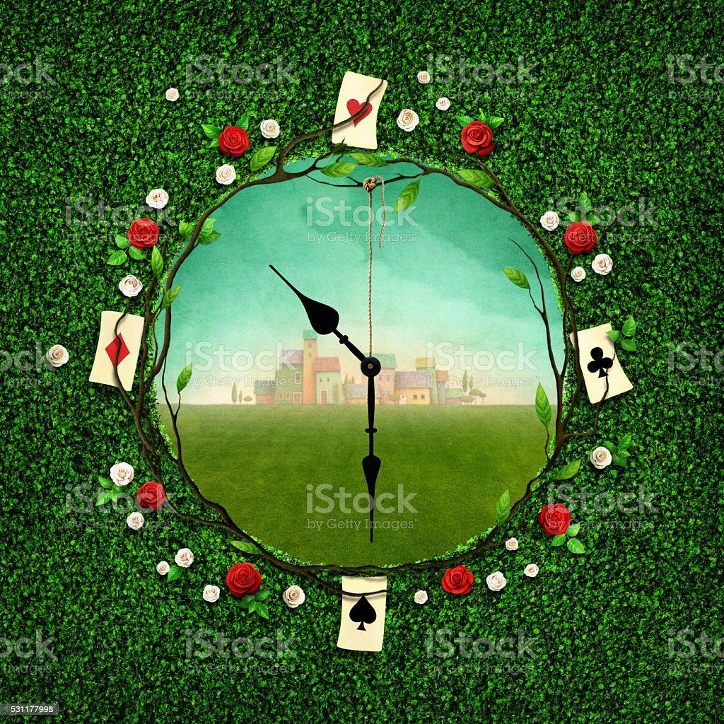 Fantasy clock vector art illustration