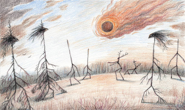 Fantasy colored pencils artwork with Tunguska unexplained event meteorite falling in the taiga woods vector art illustration