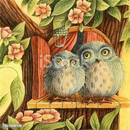 istock Fantasy couple of owl in the forest with tree, door, flowers and leaves. 1344056146