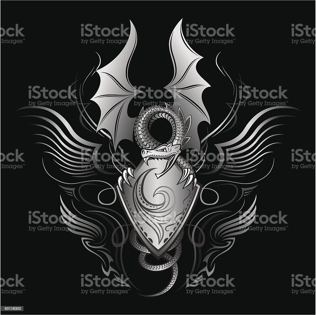 Fantasy Dragon Insignia vector art illustration