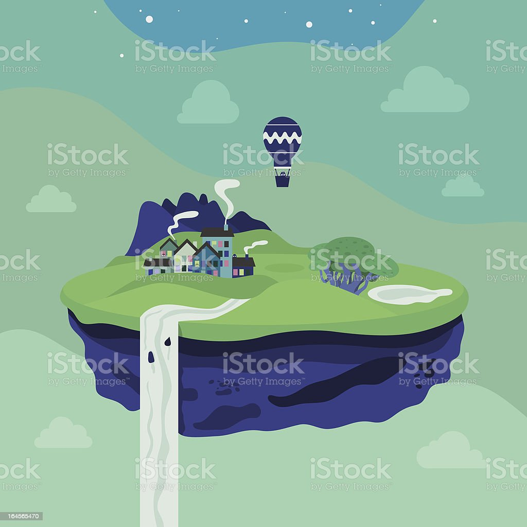 Fantasy flying island royalty-free fantasy flying island stock vector art & more images of art and craft