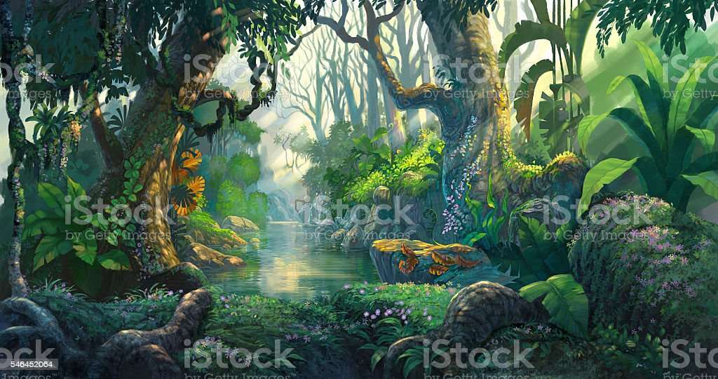 fantasy forest background illustration painting vector art illustration