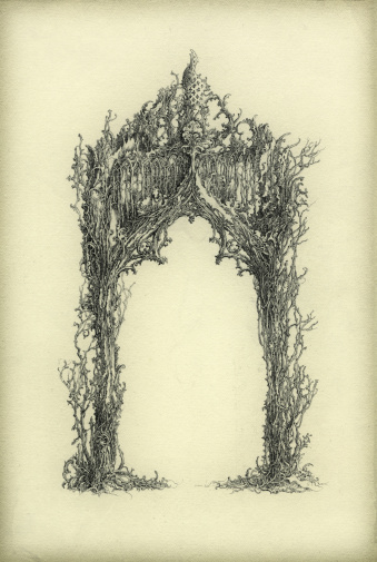 A fantasy arch, ornate with gothic elements and floral design. Ink on paper.