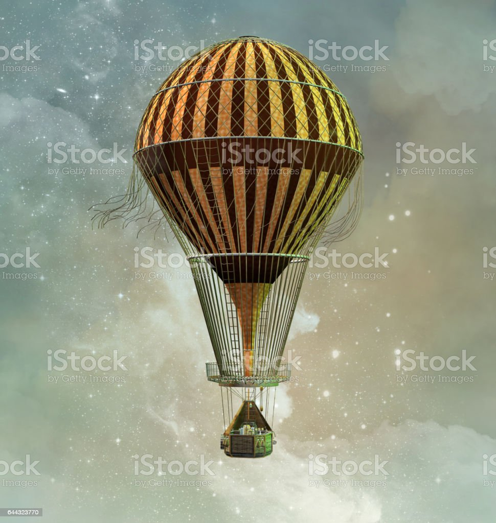 Fantasy hot air balloon vector art illustration
