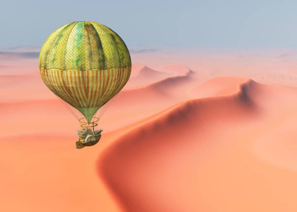 fantasy heißluftballon über einer wüstenlandschaft - aerial view soil germany stock-grafiken, -clipart, -cartoons und -symbole