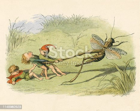 A vintage fairyland illustration featuring three cruel elves attempting to capture a cricket.