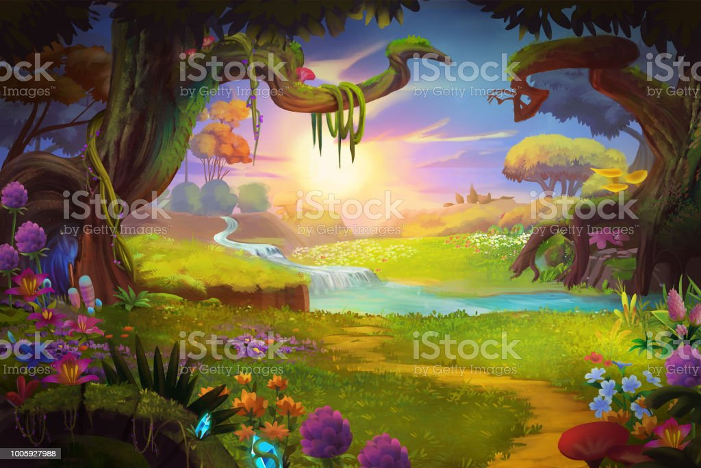 Fantasy land, Grass and Hill, River and Tree with Fantastic, Realistic Style royalty-free fantasy land grass and hill river and tree with fantastic realistic style stock illustration - download image now