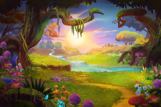 fantasy-land, grass und hügel, fluss und baum mit fantastischen, realistischen stil - idylle stock-grafiken, -clipart, -cartoons und -symbole