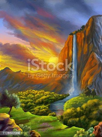 istock Fantasy landscape at sunset 1128502056