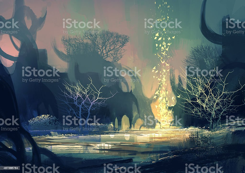 fantasy landscape with a mysterious trees vector art illustration