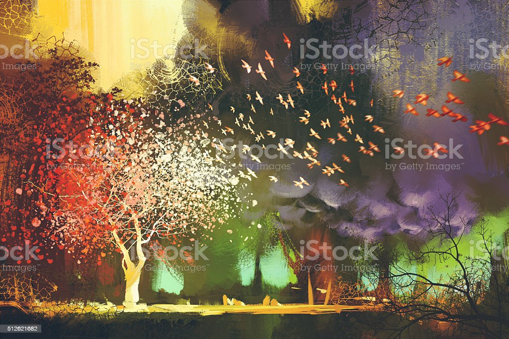 ファンタジーの神秘的な風景に木 おとぎ話のベクターアート素材や画像