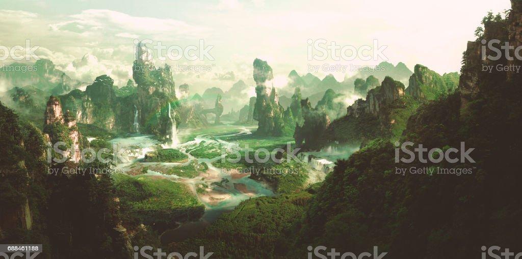 Fantasy natural environment, 3D rendering. vector art illustration