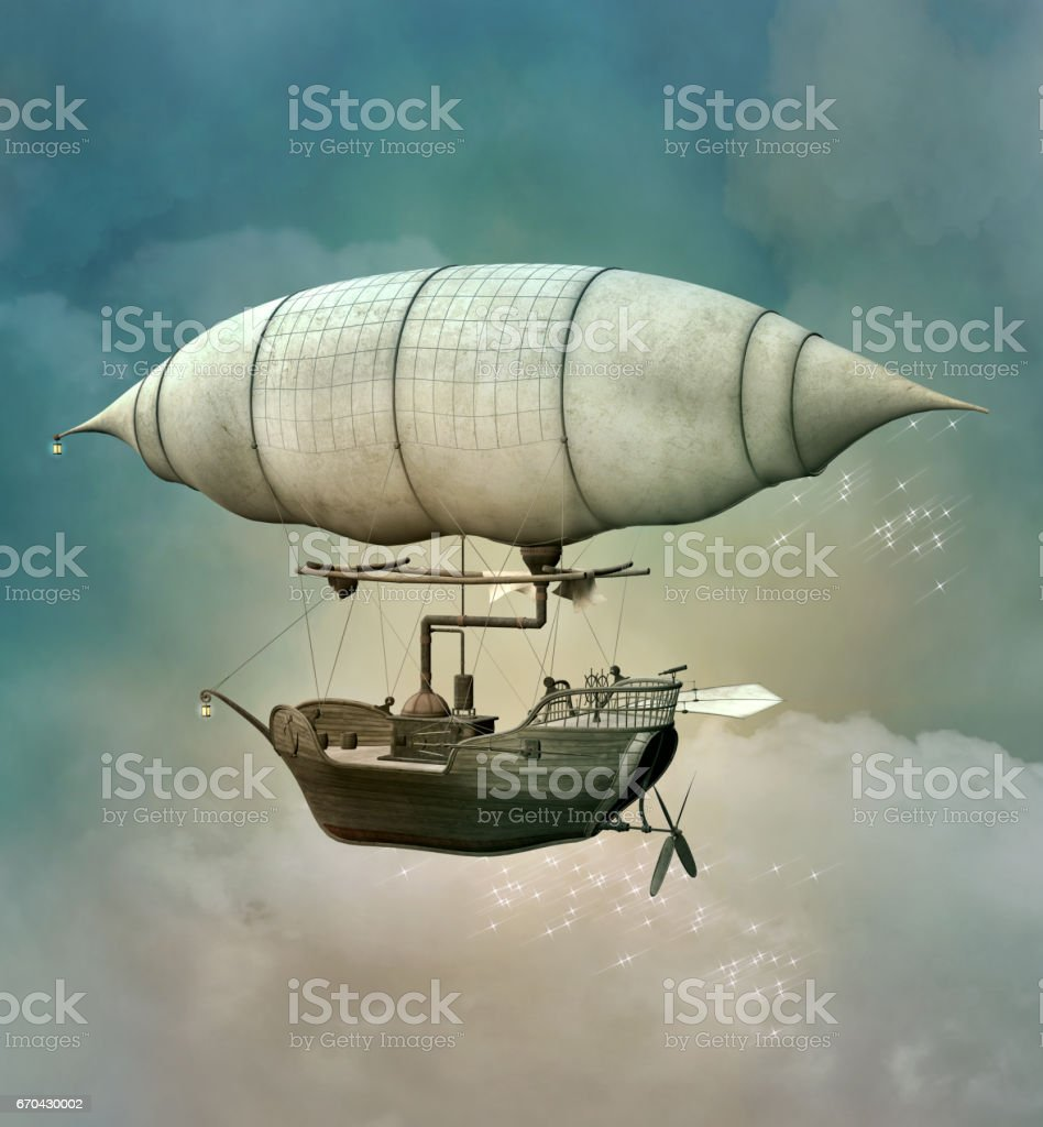 Fantasy steampunk hot air balloon vector art illustration