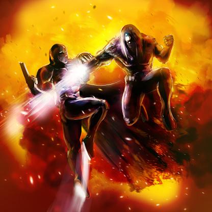 Fantasy warriors fight