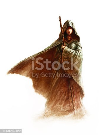 istock Fantasy young witch - beautiful woman with cloak and hood holding a magic staff 1209260122