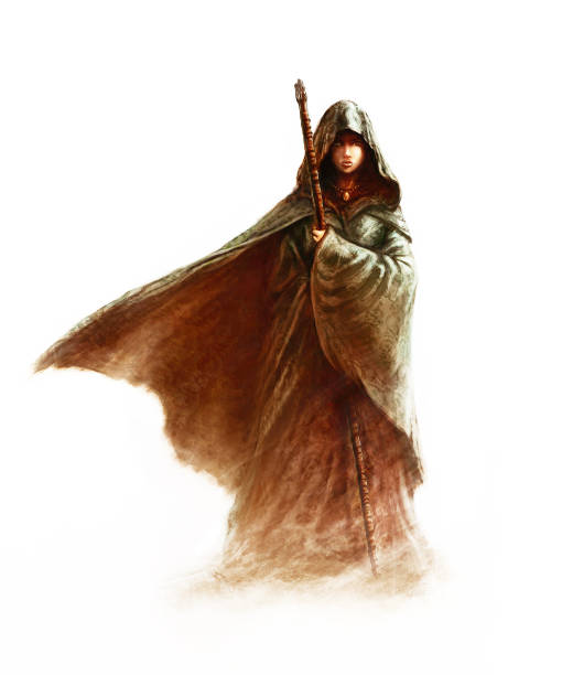 Fantasy young witch - beautiful woman with cloak and hood holding a magic staff vector art illustration
