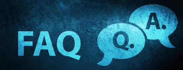 ilustraciones, imágenes clip art, dibujos animados e iconos de stock de fondo de bandera azul especial de preguntas frecuentes (icono de pregunta respuesta burbuja) - faq