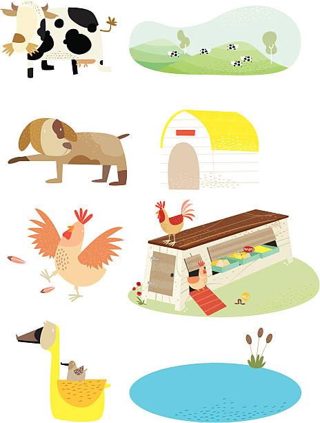 farm animal and home vektorkonstillustration