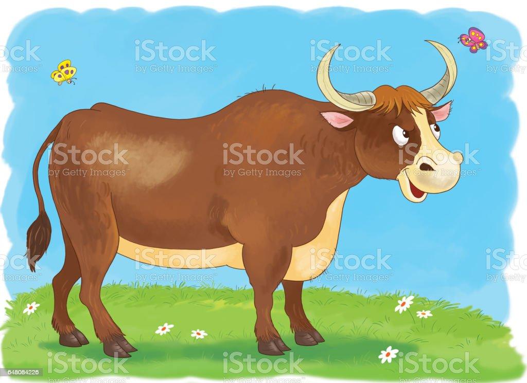 Nutztiere Ein Stier Illustration Für Kinder Malvorlagen Stock Vektor ...